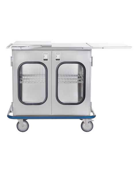 Blickman Stainless Steel Multi-Purpose Case Cart Model CCC2E-19G - Double Glass Doors & Extension Shelves