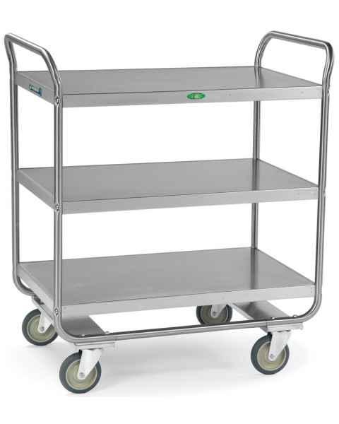 Lakeside Stainless Steel Tubular Utility Cart - 3 Shelves - Medium Duty 500 lbs Capacity