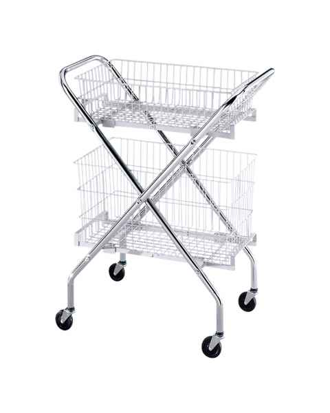 "Blickman Model 2440 Folding Utility Cart with Model 2441 6"" Wire Basket and Model 2442 12"" Wire Basket"