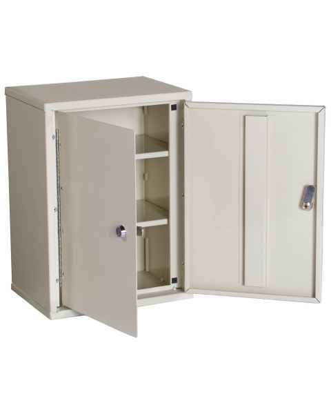 "Harloff 2802AQ Heavy Duty Narcotics Cabinet, Double Door Double Lock, Deep Profile 15""H x 11""W x 8""D"