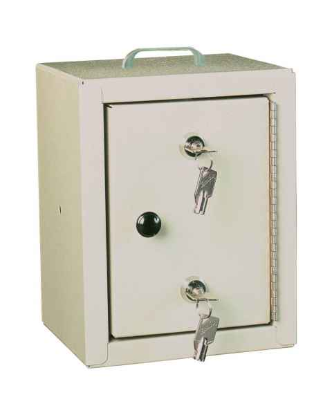 "Harloff 2810AQ Small Narcotic Cabinet, Single Door Double Lock, 10"" H x 7"" W x 7"" D"
