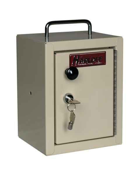 "Harloff 2811AQ Small Narcotics Cabinet, Single Door Single Lock, 10""H x 7""W x 7""D"