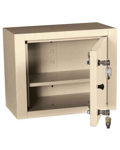 "Harloff 2825AQ Medium Narcotics Cabinet, Single Door Double Lock, 12""H x 15""W x 8""D"
