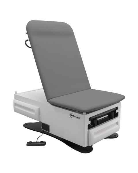 FusionONE Power Hi-Lo Manual Back Exam Chair with Foot Control, Stirrups, Drain Pan, Drawer Warmer, Pelvic Tilt & Receptacle