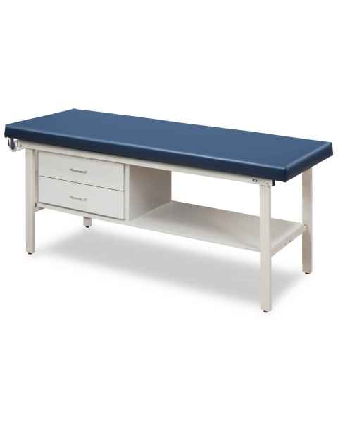 "Clinton Flat Top Alpha-S Series Straight Line Treatment Table with Shelf & 2 Drawers - 30"" Width"