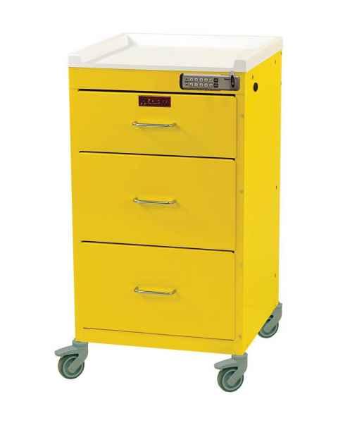 "Harloff 3143E Mini Line 18"" Wide Short Emergency Cart 3 Drawer Basic Electronic Pushbutton Lock"
