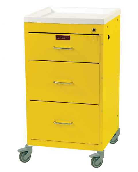 "Harloff 3143K Mini Line 18"" Wide Short Emergency Cart Three Drawer with Key Lock"