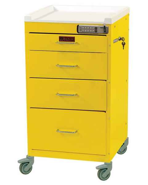 Harloff 3144E Mini Line Short Infection Control Cart 4 Drawer - Basic Electronic Pushbutton Lock with Key Lock Override