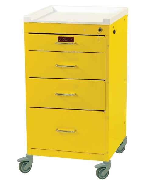 Harloff 3144K Mini Line Short Infection Control Cart 4 Drawer with Key Lock