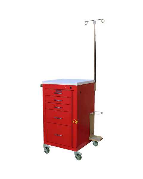 Harloff 3145B-EMG Mini Line Emergency Cart Short Five Drawer - Specialty Accessory Package with Breakaway Lock