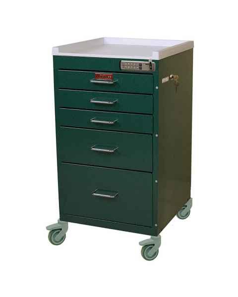 Harloff 3145E Mini Line Anesthesia Cart Five Drawers with Basic Electronic Pushbutton Lock