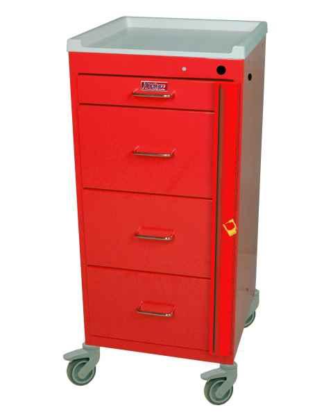 Harloff 3154B Mini Line Tall Isolation Cart 4 Drawer with Breakaway Lock
