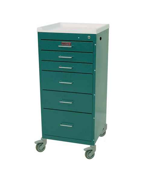 Harloff 3156K Mini Line Anesthesia Cart Six Drawer with Key Lock