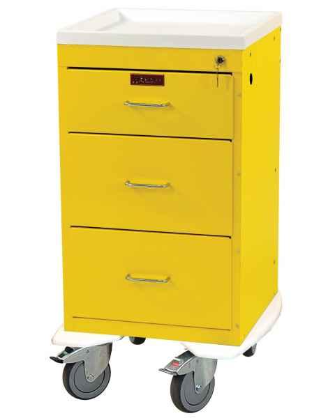 Harloff 3243K Mini Line Short Infection Control Cart 3 Drawer with Key Lock