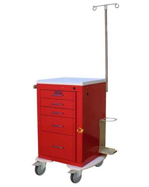 "Harloff 3245B-EMG Mini Line 18"" Wide Short Emergency Cart 5 Drawer with Breakaway Lock Accessory Package"