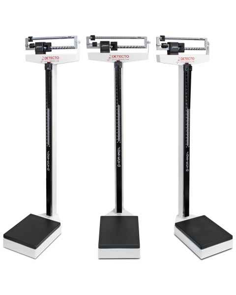 Detecto Model 339 Eye-Level Mechanical Weighbeam Scale, White, Dual-Reading, with Height Rod