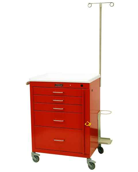 "Harloff 4145B-EMG Mini24 24"" Wide Short Emergency Cart 5 Drawer with Breakaway Lock & EMG Accessory Package"