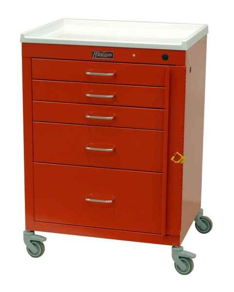 "Harloff 4145B Mini24 24"" Wide Short Emergency Cart 5 Drawer with Breakaway Lock"