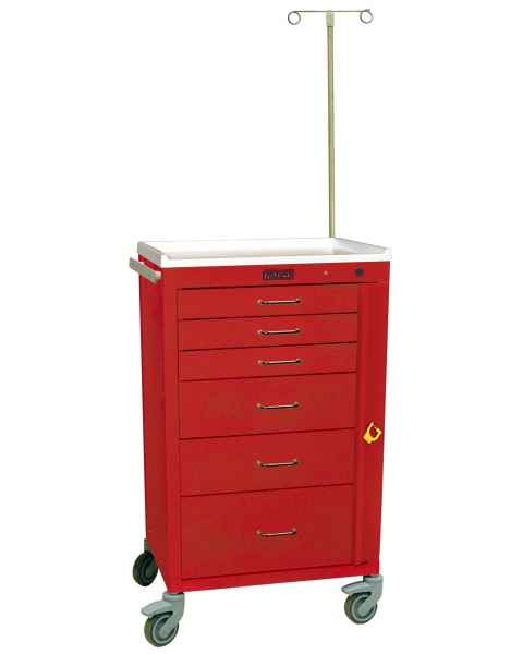 "Harloff 4156B-EMG Mini24 24"" Wide Tall Emergency Cart Six Drawer with Breakaway Lock & EMG Accessory Package"