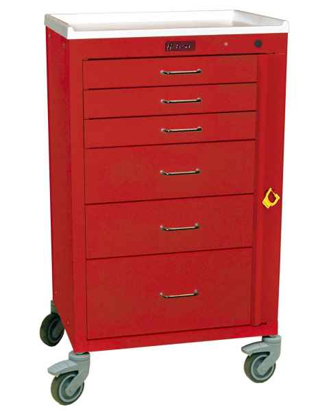 "Harloff 4156B Mini24 24"" Wide Tall Emergency Cart Six Drawer with Breakaway Lock"