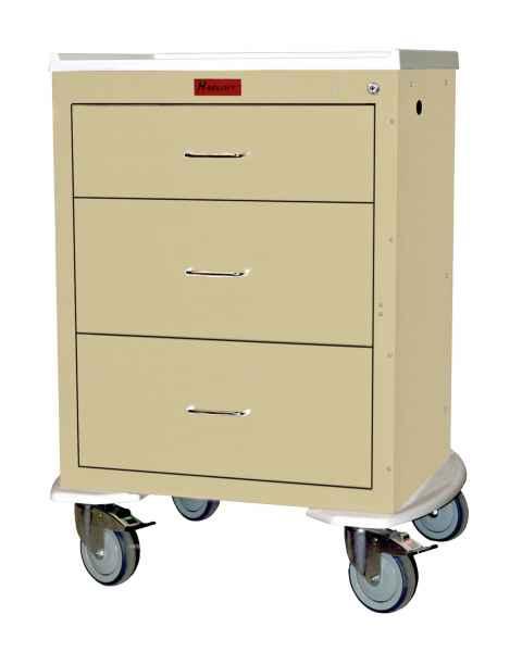 Harloff 4243K Mini24 Short Infection Control Cart Three Drawer with Key Lock