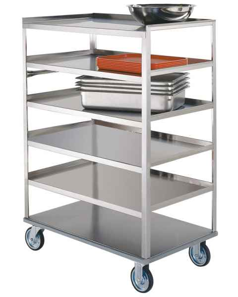 Lakeside SS Medium Duty Multi-Shelf Carts - 3 Edges Up 1 Down - Perimeter Bumper