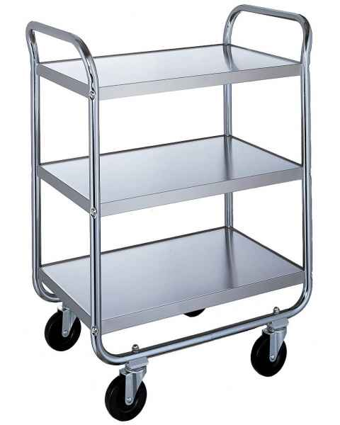 Lakeside Chrome Tubular Utility Cart - 3 Stainless Steel Shelves - Medium Duty 500 lbs Capacity