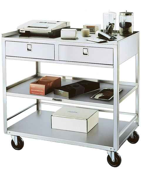 Lakeside Stainless Steel Utility Table with Two Drawers