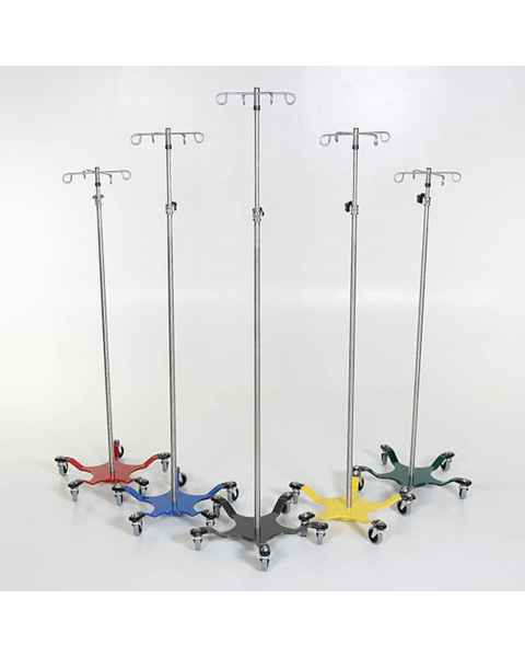 Chrome IV Pole with 5-Leg Color Coded Spider Base