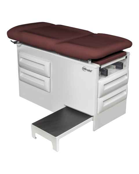 Model 5240-145 Manual Exam Table with Side Step and Four Storage Drawers - Fine Wine