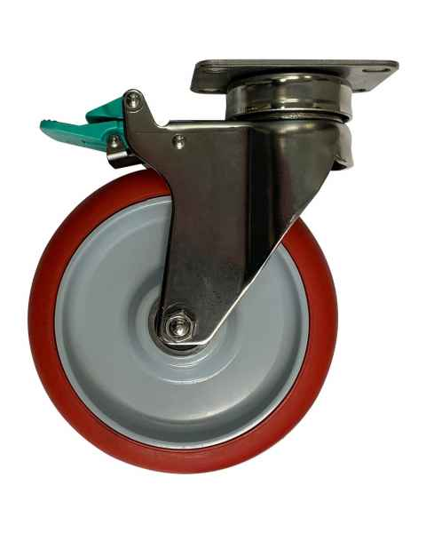 """Pedigo 57-SS-D4 6"""" Plate Caster Set Upgrade - Precision Sealed Bearings, (2) Swivel and (2) Directional Lock"""