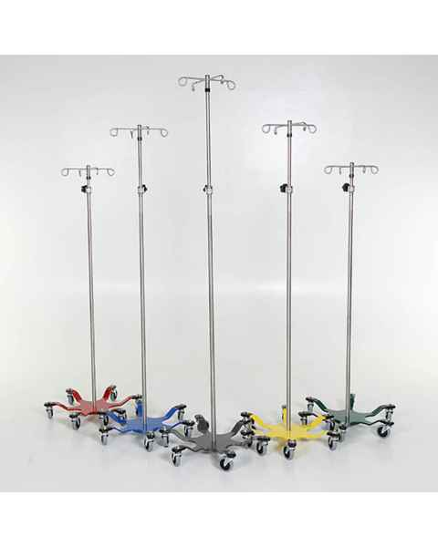 Chrome IV Pole with 6-Leg Color Coded Spider Base