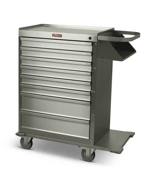Harloff Model 6020 Stainless Steel Eight Drawer Cast Cart - Standard Package