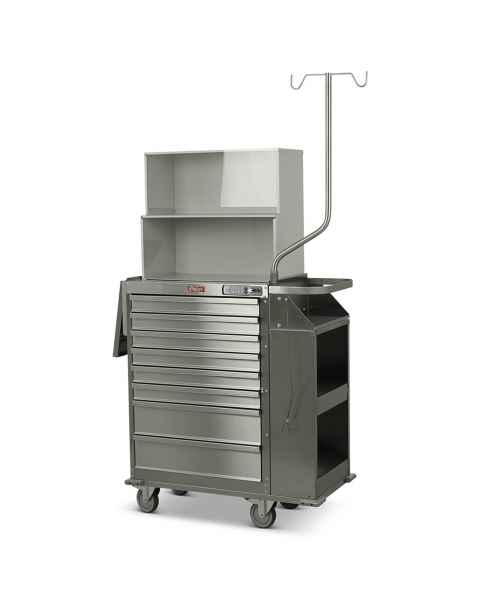 Harloff Model 6025E-TC Stainless Steel Eight Drawer Cast Cart with Top Compartment & Basic Electronic Push Button Lock - Deluxe Package