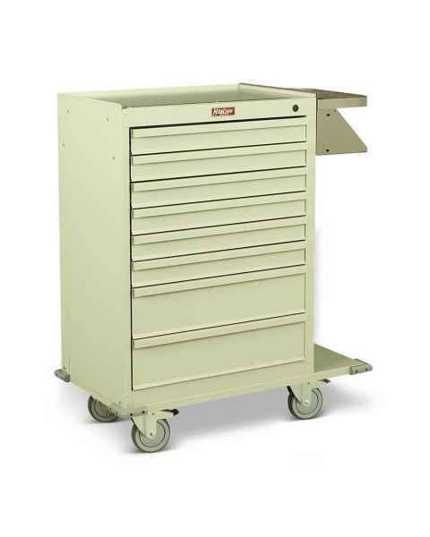 Harloff Model 6030 Painted Steel Eight Drawer Cast Cart - Standard Package