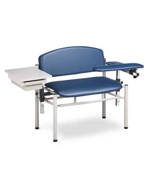 Clinton SC Series Extra-Wide Padded Blood Drawing Chair with Padded Flip Arm and Drawer - Model 6069-U