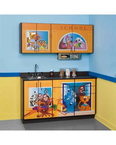 Clinton Pediatric Theme Base & Wall Cabinets - School House