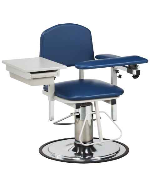 Clinton 6320 H Series Padded Blood Drawing Chair with Padded Flip Arm and Drawer