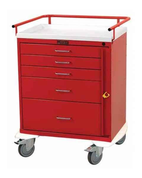Harloff 6330 Classic Line Short Emergency Cart Five Drawer with Breakaway Lock
