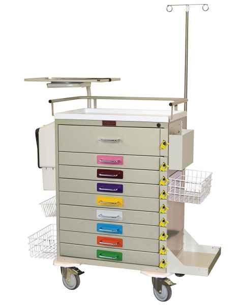 Harloff 6411PEC Classic Line Pediatric Emergency Cart 9 Drawer Individual Breakaway Locks, Pack of Color Label Decals, Super Stat Package