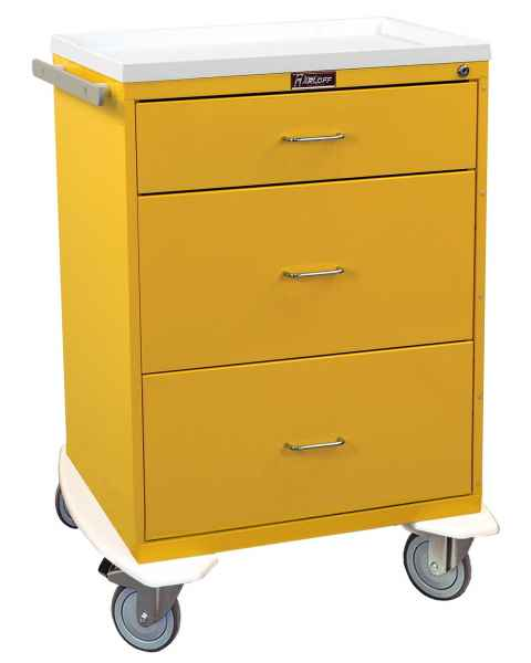 Harloff 6510 Classic Line Infection Control Cart Three Drawer with Key Lock