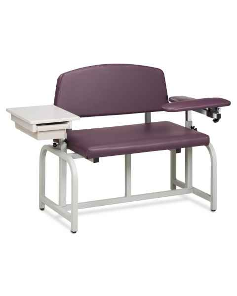 Lab X Series Bariatric Blood Drawing Chair with Padded Flip Arm and Drawer
