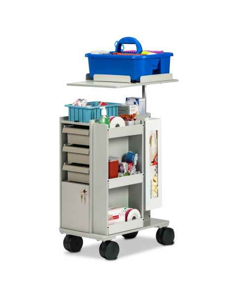 Clinton 67032 Phlebotomy Slimline Store & Go Cart (Tray pictured on top and all supplies shown not included)