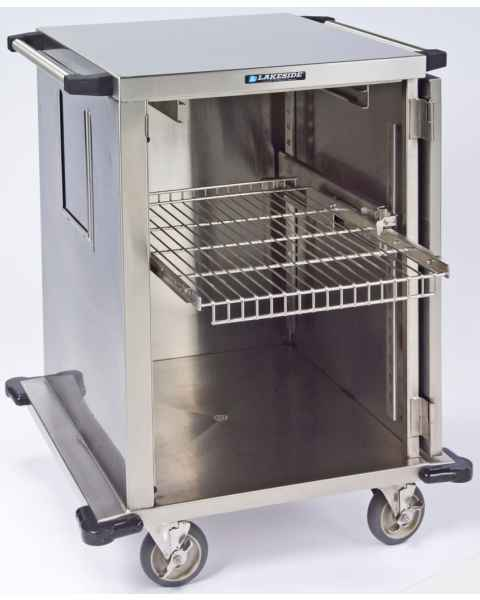 "Lakeside One Door Stainless Steel Case Carts - 24"" Width Wire Shelf"