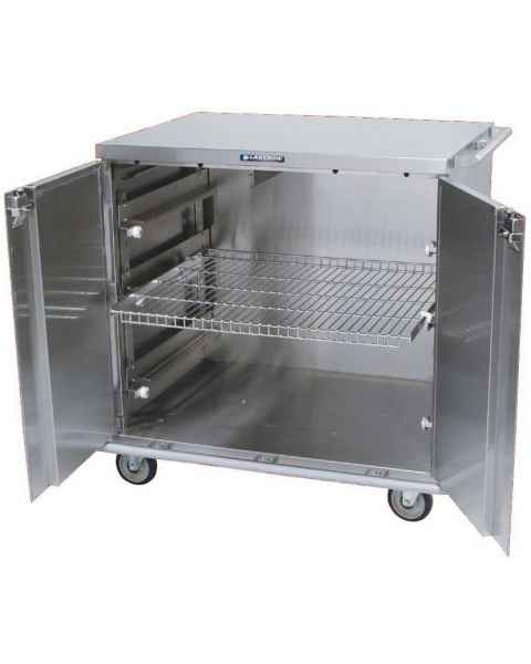 "Lakeside Two Door Stainless Steel Case Carts - 31 3/8"" Width Wire Shelf"