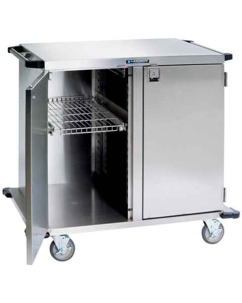 """Lakeside Two Door Stainless Steel Case Carts - Two 13 1/2"""" Width Wire Shelf"""
