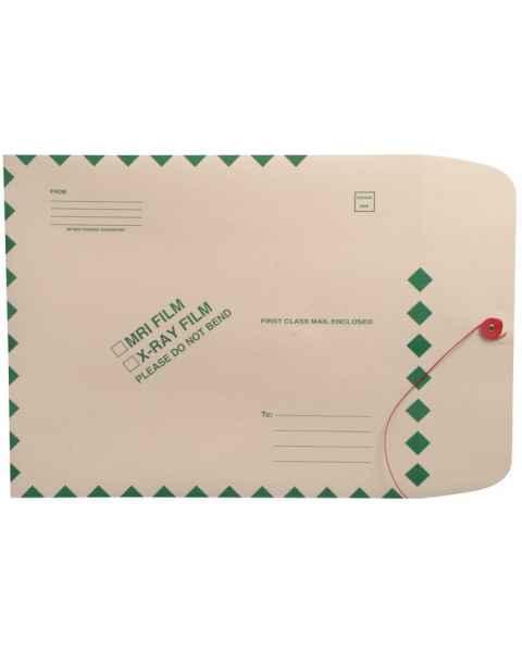 "15"" x 18"" Open End MRI/X-Ray Film Mailer - Manila Button & String Closure - Green Diamond Border"