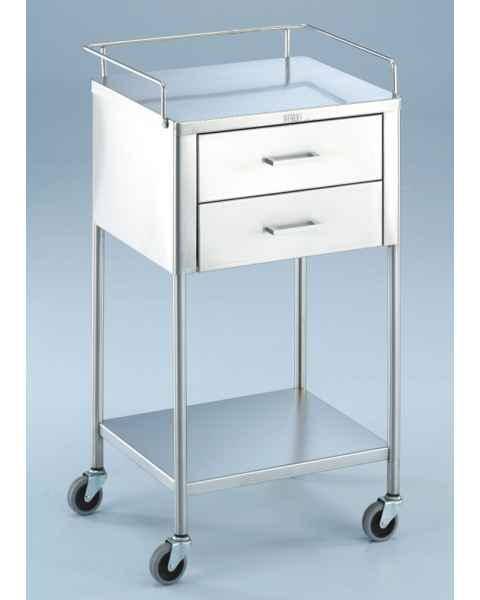 Blickman SS Anesthesia Utility Table with Guard Rail and Two Drawers