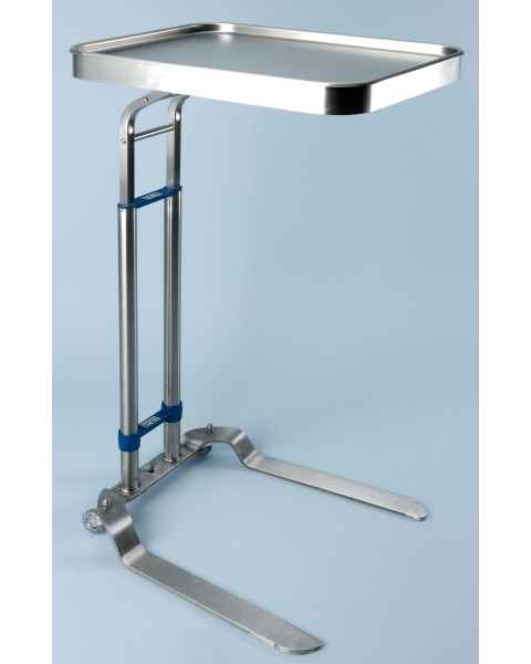 """Stainless Steel Benjamin Single Post Foot-Operated Mayo Stand - Tray Size 12 5/8"""" x 19 1/8"""""""