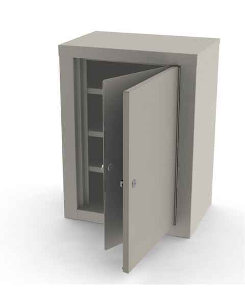 """Large Painted Steel Narcotic Cabinet, Double Door & Lock - 24"""" H x 18.125"""" W x 12.125"""" D"""